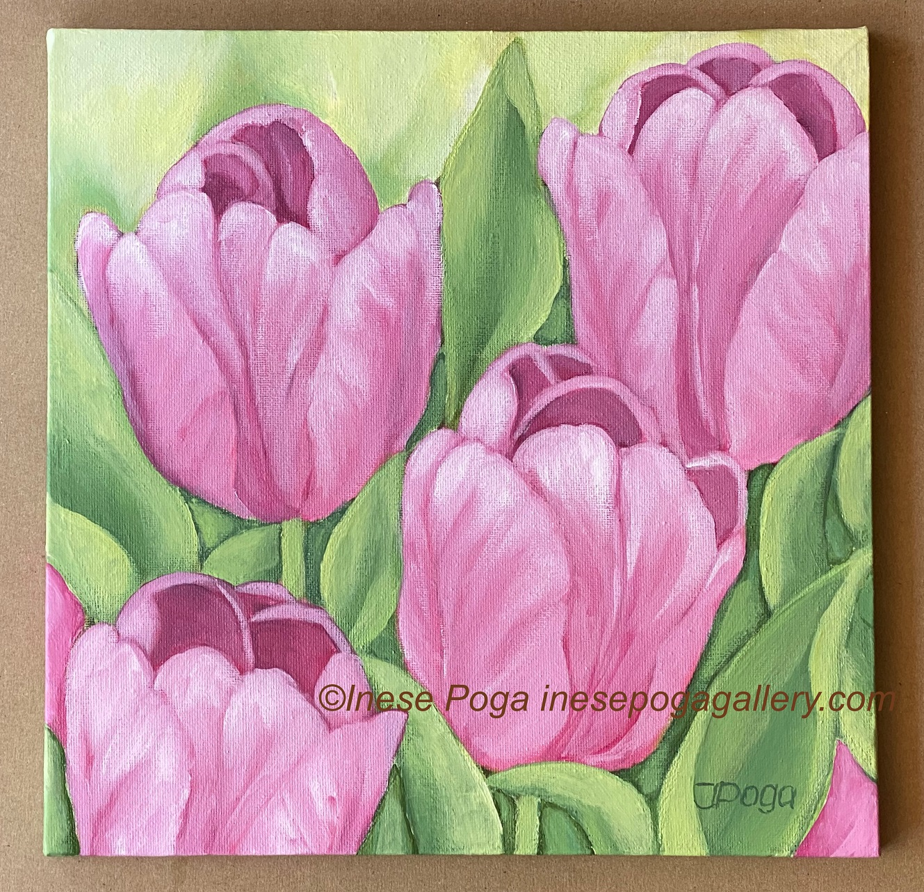 Pink tulips tiny painting in oil Tulip flowers art. Small canvas personalized gift ideas